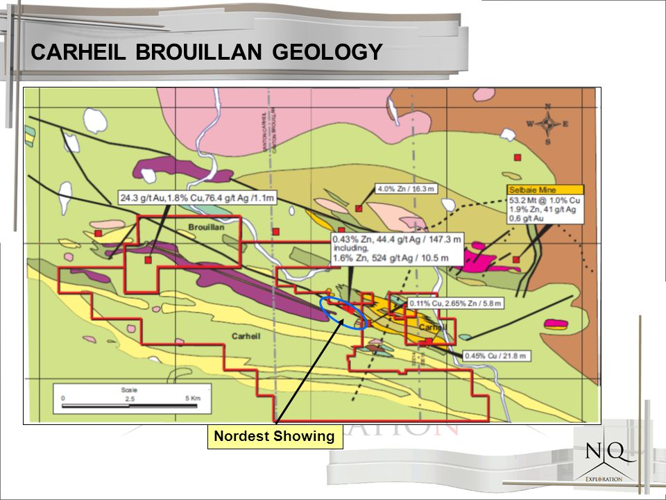 CARHEIL BROUILLAN GEOLOGY Nordest Showing