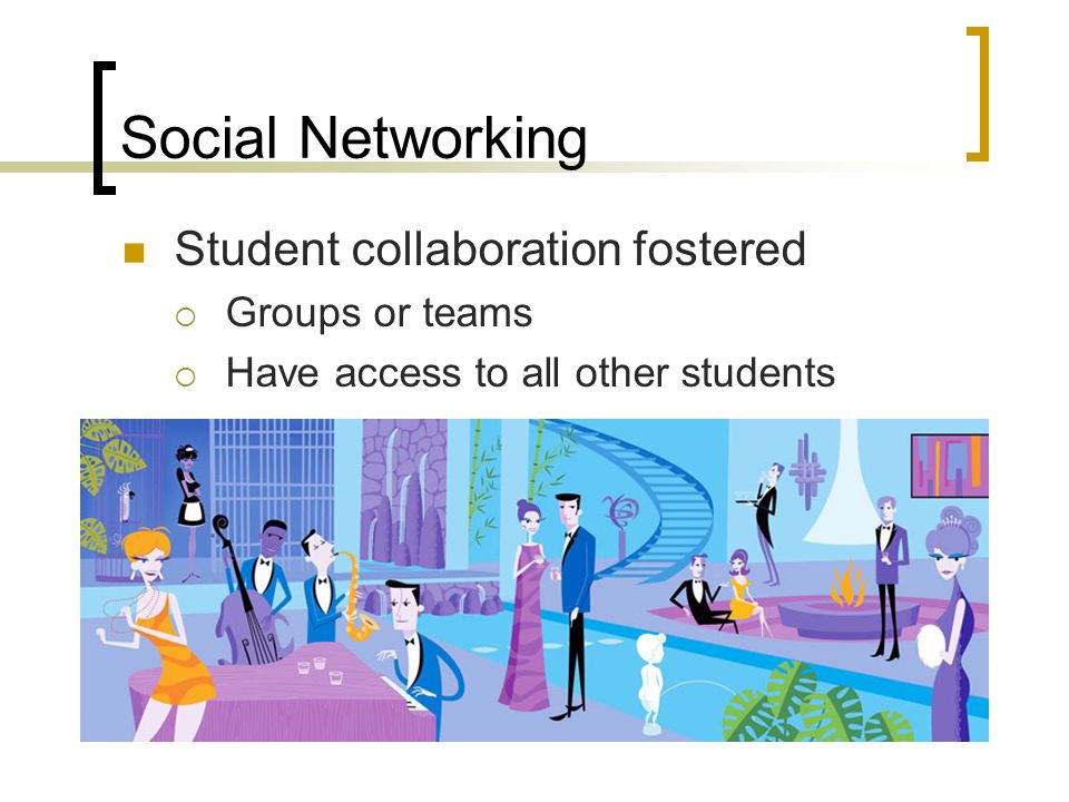 Social Networking Student collaboration fostered  Groups or teams  Have access to all other students