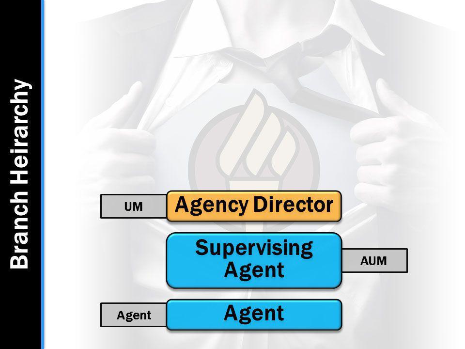 Branch Heirarchy Agent AUM Supervising Agent UM Agency Director