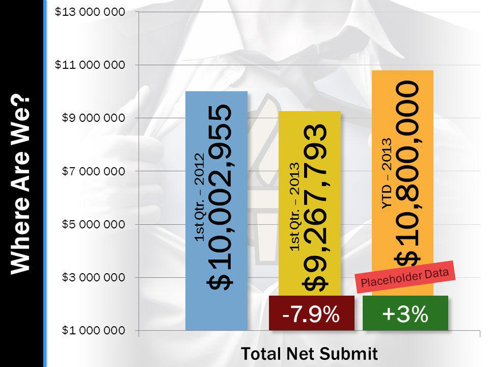 Where Are We? -7.9% 1st Qtr. – 2012 $10,002,955 1st Qtr. – 2013 $9,267,793 YTD – 2013 $10,800,000 +3% Placeholder Data