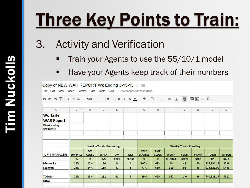 Three Key Points to Train: 3.Activity and Verification  Train your Agents to use the 55/10/1 model  Have your Agents keep track of their numbers Tim