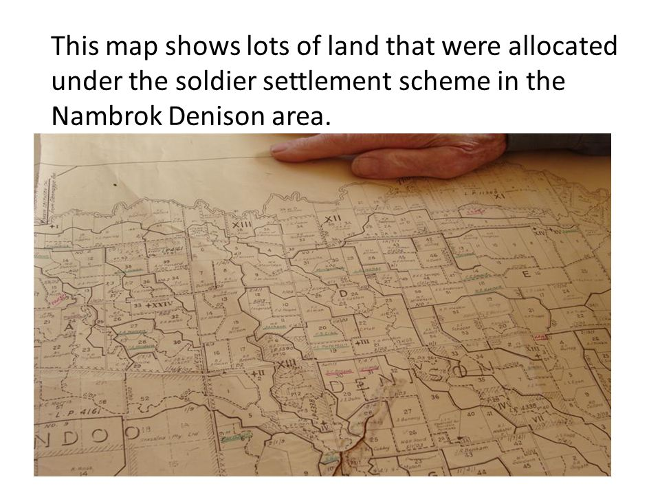 This map shows lots of land that were allocated under the soldier settlement scheme in the Nambrok Denison area.