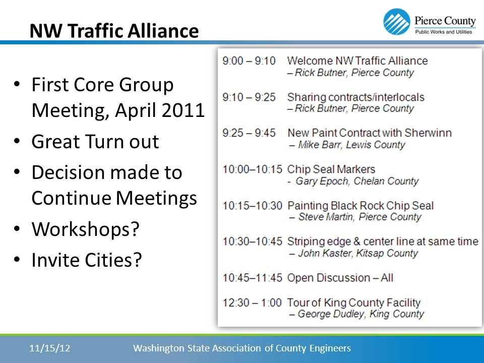 In the Beginning – First meeting held March of 2011 Name was decided In Attendance – Pierce, Kitsap and King County – WSDOT Discussed Sign Retro & Asset Management WASP contacts to initiate first meeting.