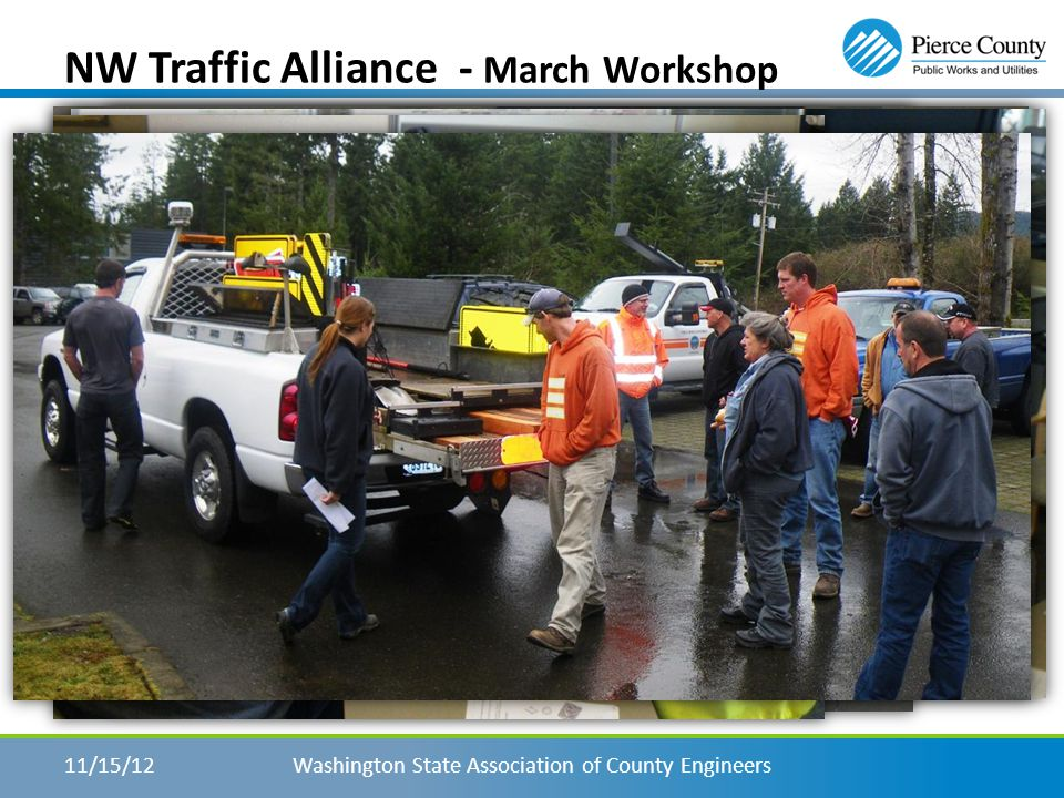 NW Traffic Alliance – Workshops Washington State Association of County Engineers11/15/12 Workshops – Personal Growth – Sharing Ideas – Networking – Fulfilling a need