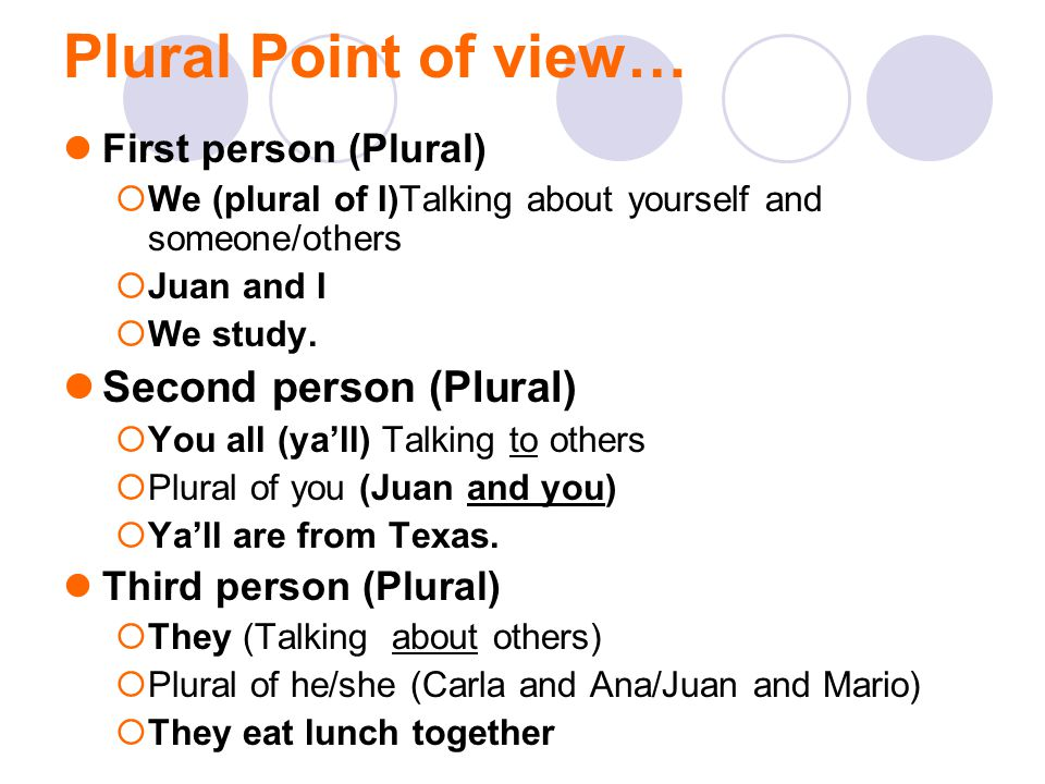 Plural Point of view… First person (Plural)  We (plural of I)Talking about yourself and someone/others  Juan and I  We study. Second person (Plural
