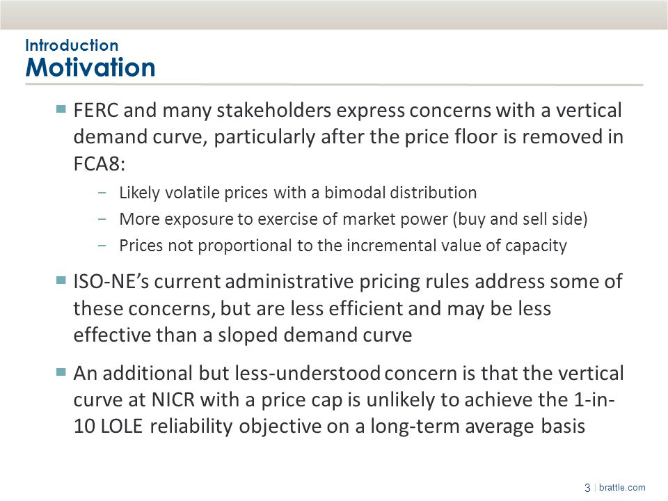 3 | brattle.com Introduction Motivation ▀ FERC and many stakeholders express concerns with a vertical demand curve, particularly after the price floor
