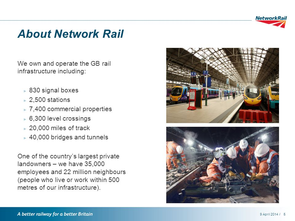 /9 April 20145 About Network Rail We own and operate the GB rail infrastructure including: ► 830 signal boxes ► 2,500 stations ► 7,400 commercial properties ► 6,300 level crossings ► 20,000 miles of track ► 40,000 bridges and tunnels One of the country's largest private landowners – we have 35,000 employees and 22 million neighbours (people who live or work within 500 metres of our infrastructure).
