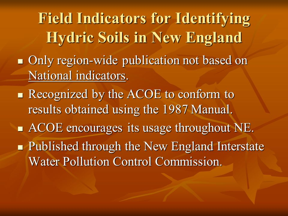 Field Indicators for Identifying Hydric Soils in New England Only region-wide publication not based on National indicators.