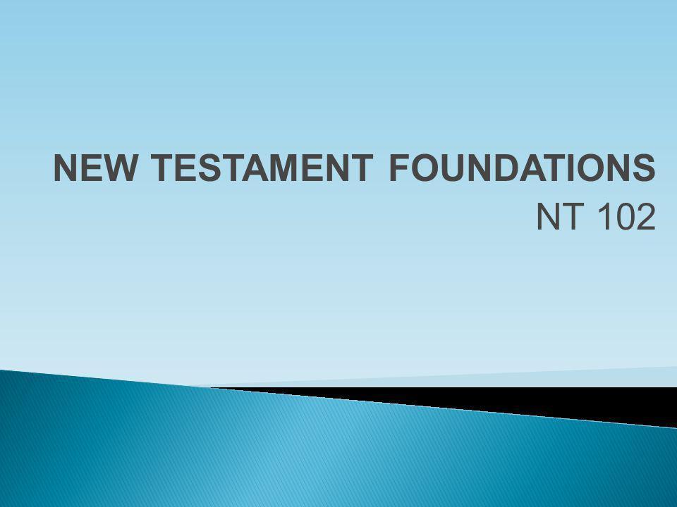 NEW TESTAMENT FOUNDATIONS NT 102
