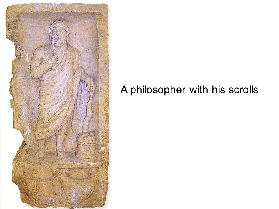 A philosopher with his scrolls