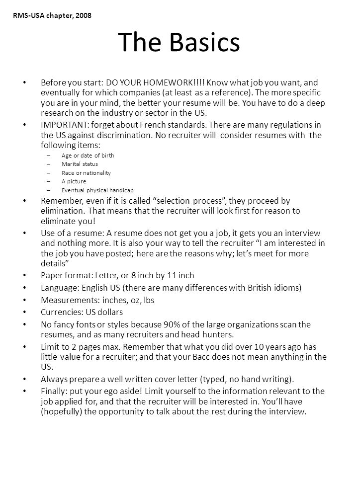 RMS-USA chapter, 2008 The Resume Layout – Page 1 Personal information: Mr./Ms.