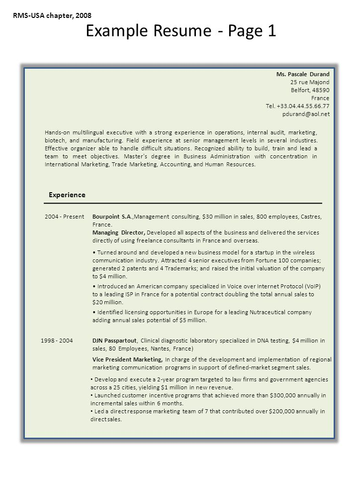 RMS-USA chapter, 2008 Example Resume - Page 1 Ms.