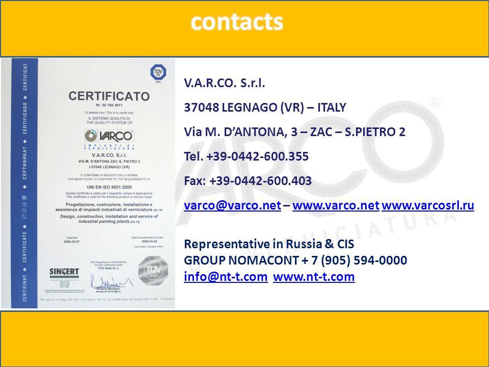 V.A.R.CO. S.r.l. 37048 LEGNAGO (VR) – ITALY Via M.