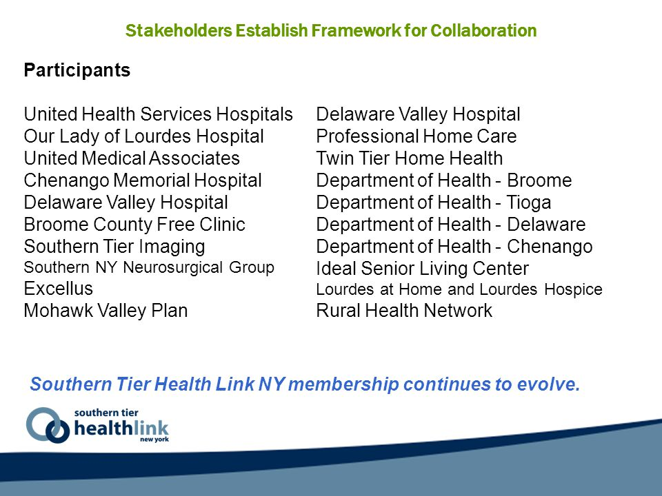 Stakeholders Establish Framework for Collaboration Southern Tier Health Link NY membership continues to evolve.