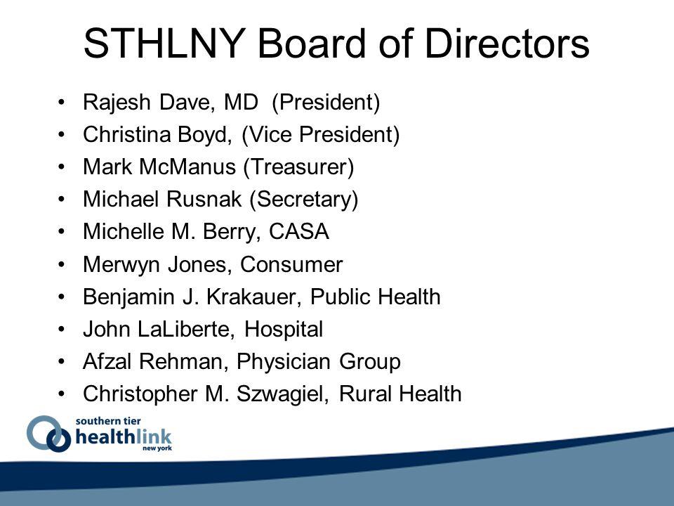 STHLNY Board of Directors Rajesh Dave, MD (President) Christina Boyd, (Vice President) Mark McManus (Treasurer) Michael Rusnak (Secretary) Michelle M.