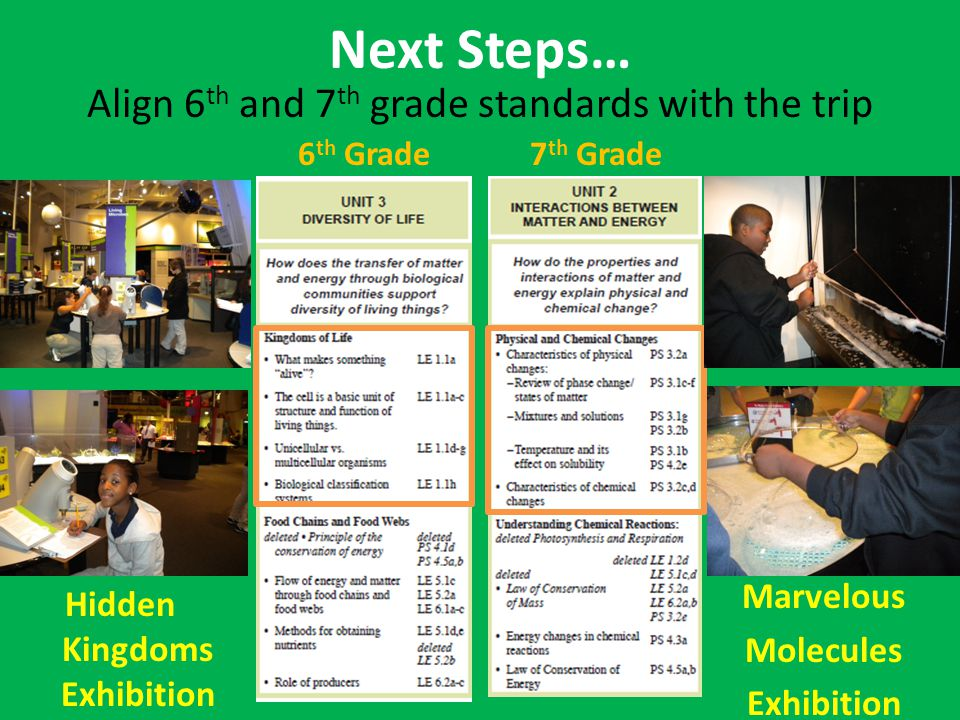 Next Steps… Align 6 th and 7 th grade standards with the trip 6 th Grade7 th Grade Hidden Kingdoms Exhibition Marvelous Molecules Exhibition