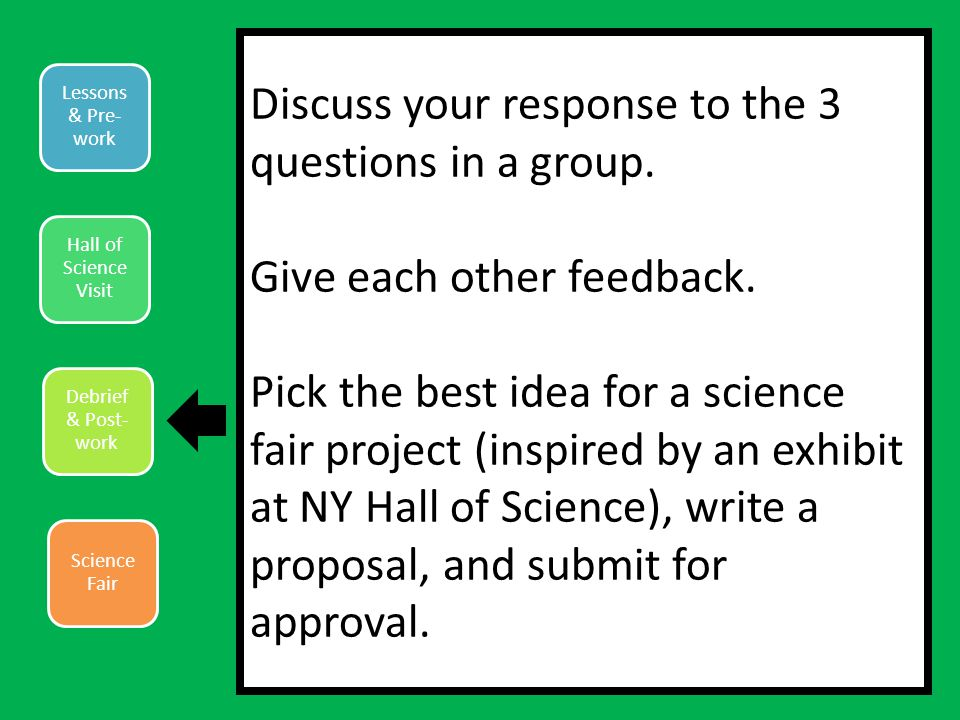 Lessons & Pre- work Hall of Science Visit Debrief & Post- work Science Fair Discuss your response to the 3 questions in a group.
