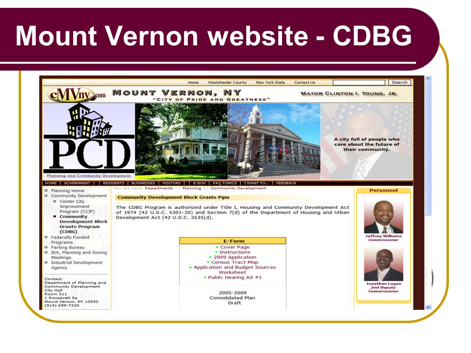 Mount Vernon website - CDBG