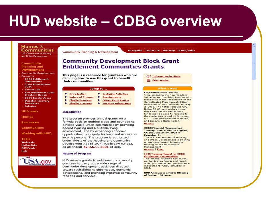 HUD website – CDBG overview