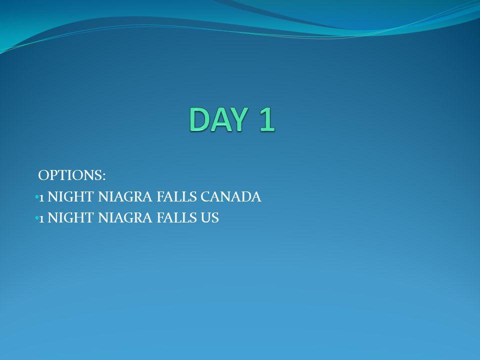 OPTIONS: 1 NIGHT NIAGRA FALLS CANADA 1 NIGHT NIAGRA FALLS US