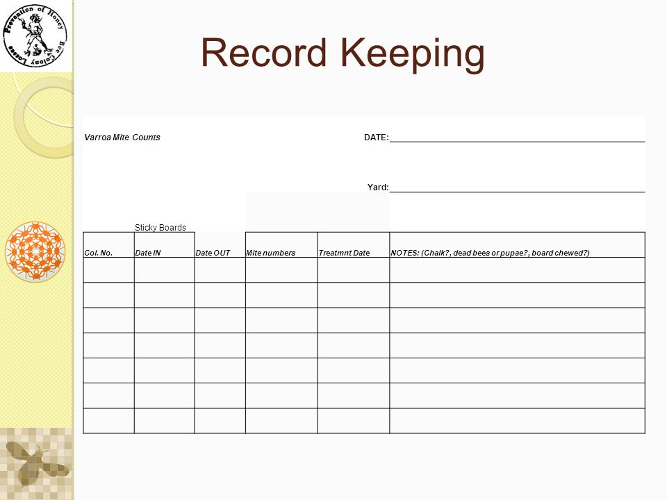 Record Keeping Varroa Mite Counts DATE: Yard: Sticky Boards Col.