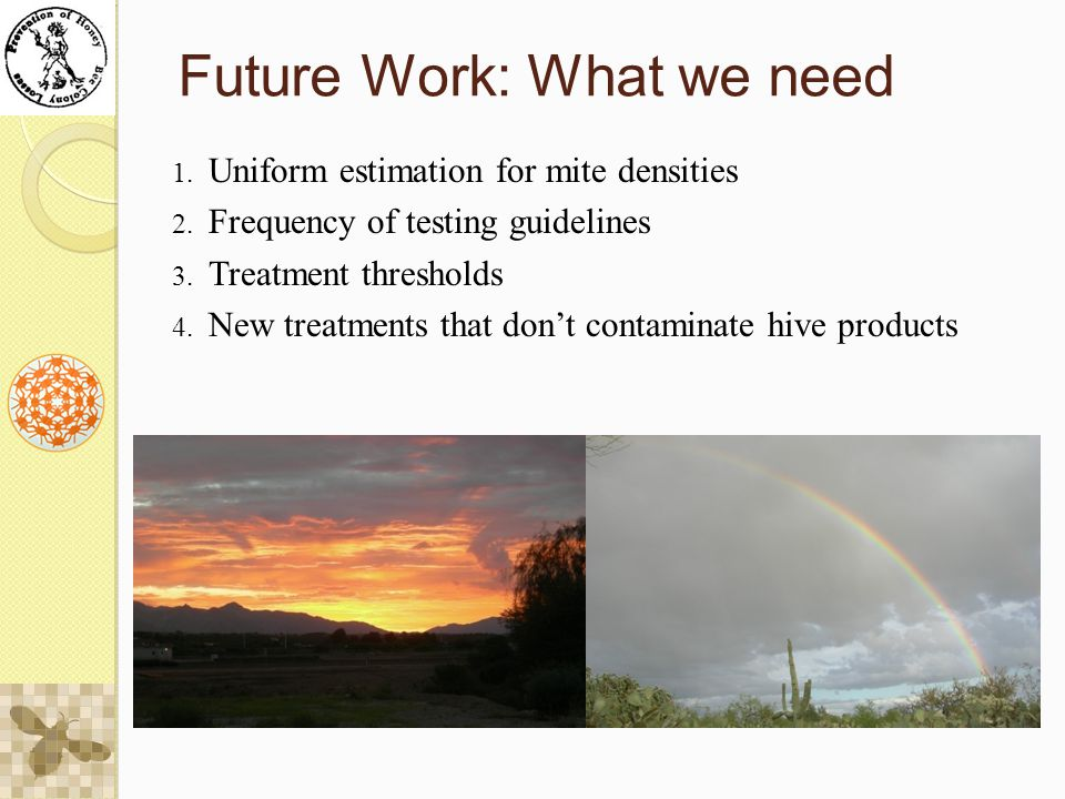 Future Work: What we need 1. Uniform estimation for mite densities 2.