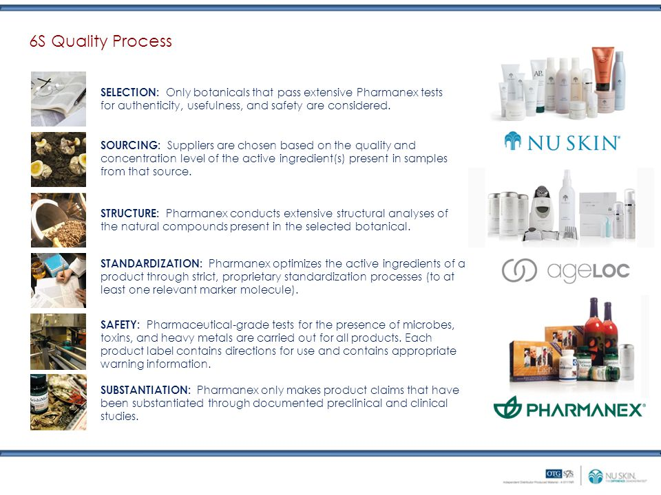 6S Quality Process SELECTION: Only botanicals that pass extensive Pharmanex tests for authenticity, usefulness, and safety are considered.