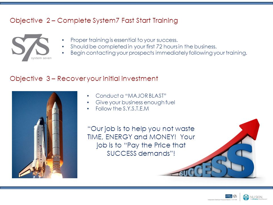 Objective 2 – Complete System7 Fast Start Training Proper training is essential to your success.