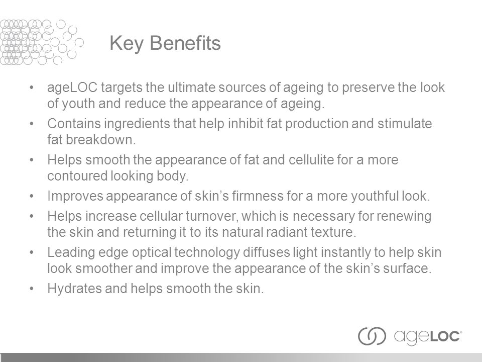 ageLOC targets the ultimate sources of ageing to preserve the look of youth and reduce the appearance of ageing. Contains ingredients that help inhibi