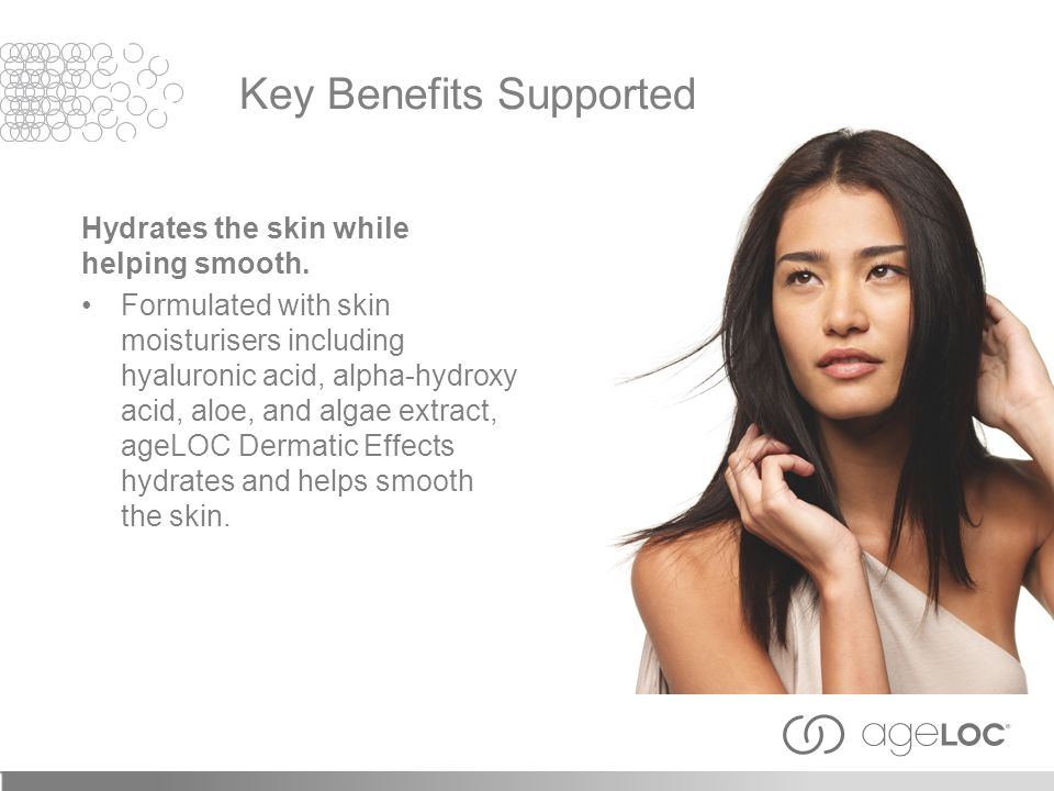 Hydrates the skin while helping smooth. Formulated with skin moisturisers including hyaluronic acid, alpha-hydroxy acid, aloe, and algae extract, ageL