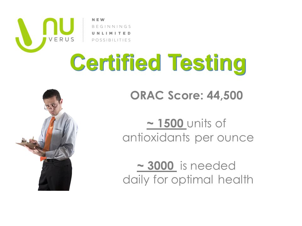 ORAC Score: 44,500 ~ 1500 units of antioxidants per ounce ~ 3000 is needed daily for optimal health Certified Testing