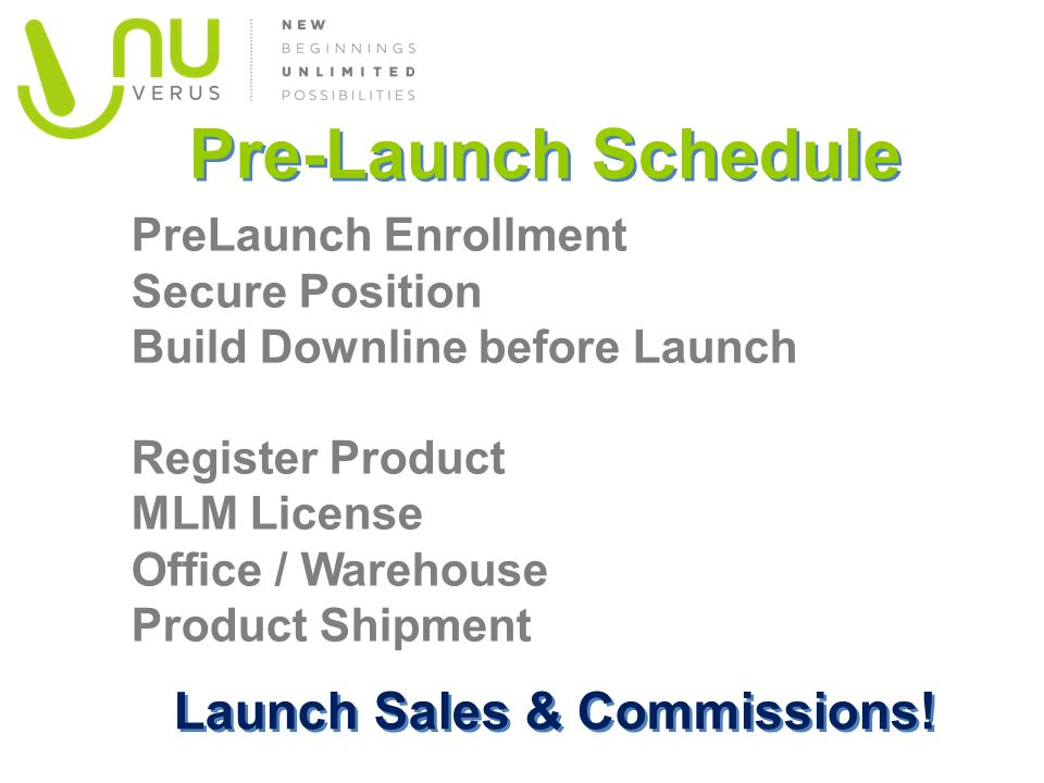 Pre-Launch Schedule PreLaunch Enrollment Secure Position Build Downline before Launch Register Product MLM License Office / Warehouse Product Shipment