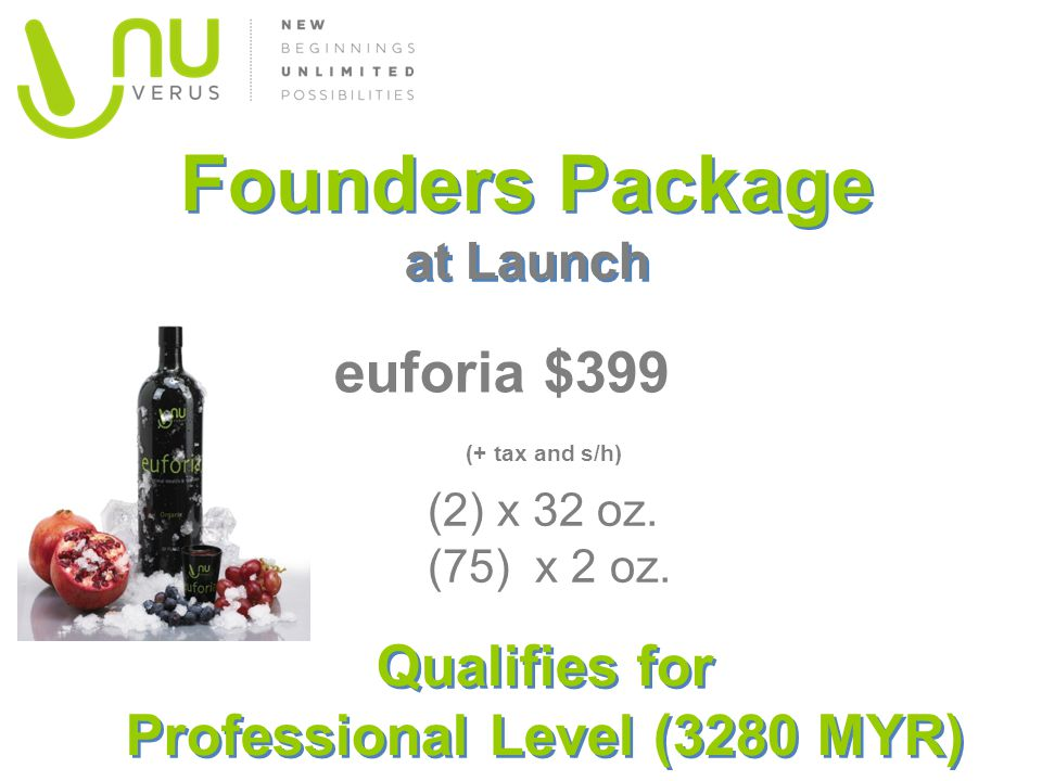Founders Package at Launch euforia $399 ( (+ tax and s/h) (2) x 32 oz. (75) x 2 oz. Qualifies for Professional Level (3280 MYR)