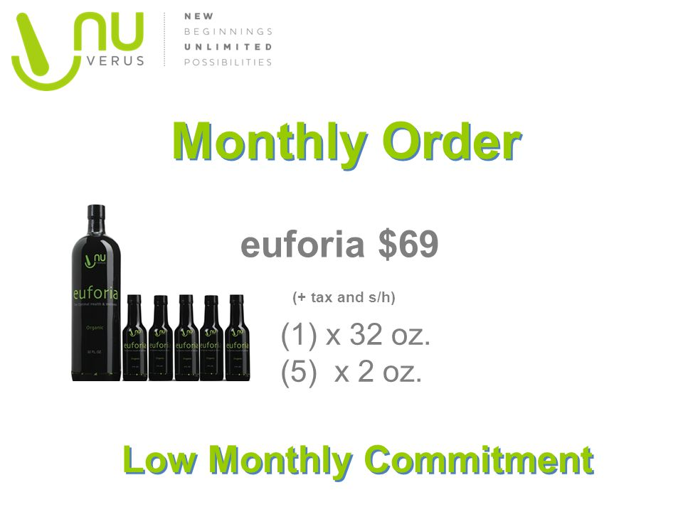 Monthly Order euforia $69 (+ tax and s/h) (1) x 32 oz. (5) x 2 oz. Low Monthly Commitment