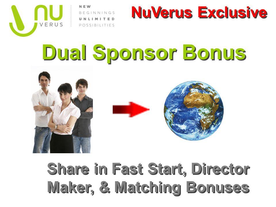 Dual Sponsor Bonus Share in Fast Start, Director Maker, & Matching Bonuses NuVerus Exclusive