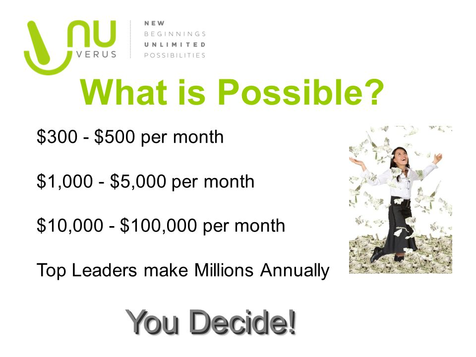 What is Possible? $300 - $500 per month $1,000 - $5,000 per month $10,000 - $100,000 per month Top Leaders make Millions Annually You Decide!