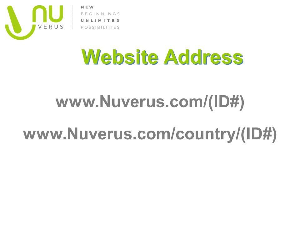 Website Address www.Nuverus.com/(ID#) www.Nuverus.com/country/(ID#)