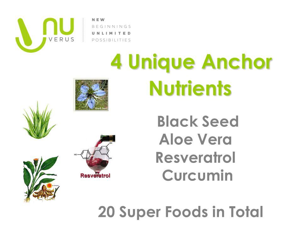 4 Unique Anchor Nutrients 4 Unique Anchor Nutrients Black Seed Aloe Vera Resveratrol Curcumin 20 Super Foods in Total