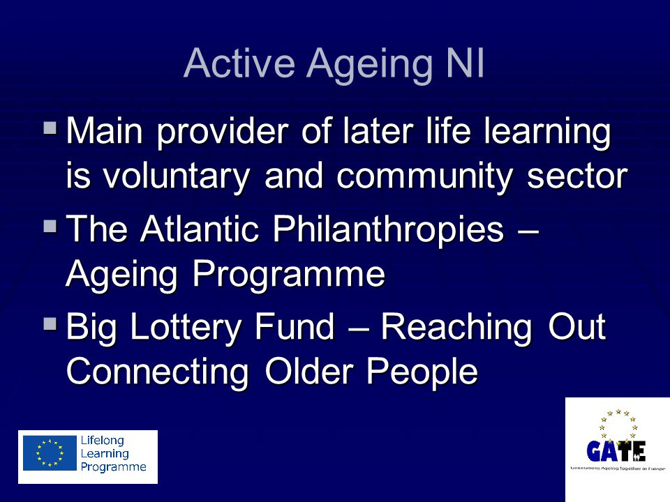 Active Ageing NI  Main provider of later life learning is voluntary and community sector  The Atlantic Philanthropies – Ageing Programme  Big Lottery Fund – Reaching Out Connecting Older People