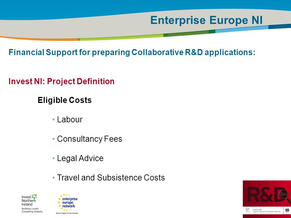 IRT Teams | Sept 08 | ‹#›Title of the presentation | Date |‹#› Enterprise Europe NI Financial Support for preparing Collaborative R&D applications: In