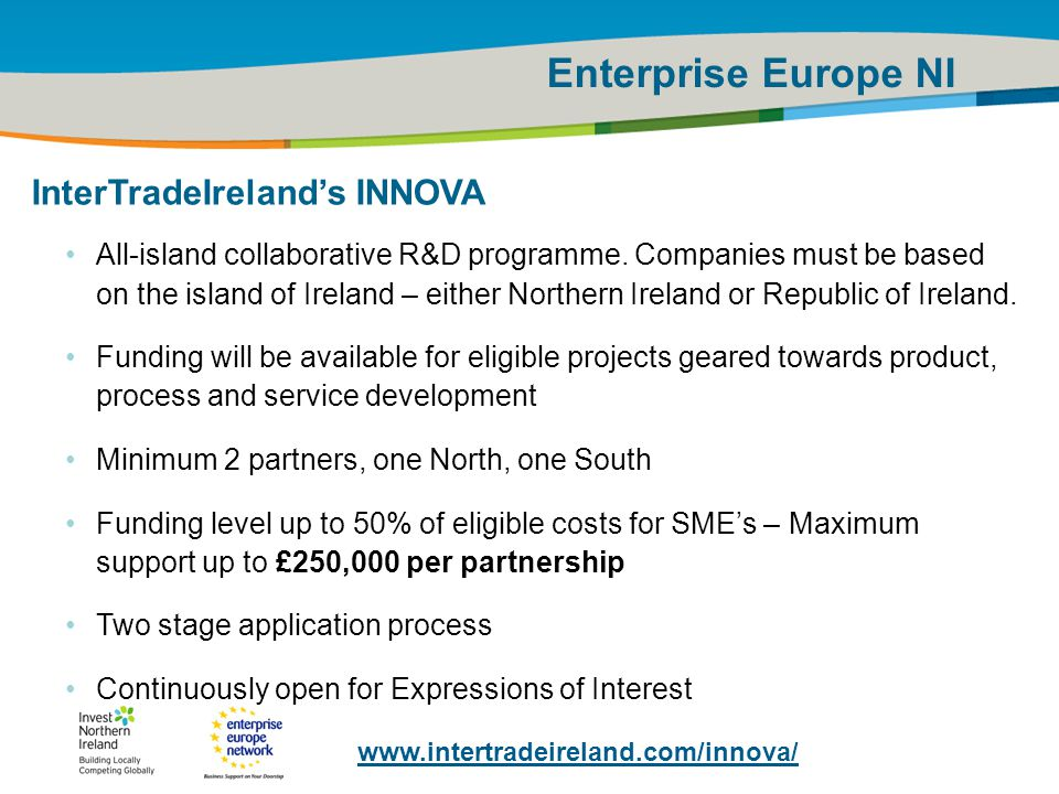 IRT Teams | Sept 08 | ‹#›Title of the presentation | Date |‹#› Enterprise Europe NI InterTradeIreland's INNOVA All-island collaborative R&D programme.