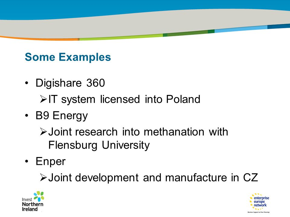 IRT Teams | Sept 08 | ‹#›Title of the presentation | Date |‹#› Some Examples Digishare 360  IT system licensed into Poland B9 Energy  Joint research into methanation with Flensburg University Enper  Joint development and manufacture in CZ