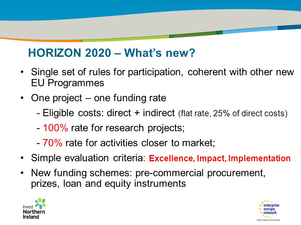 IRT Teams | Sept 08 | ‹#›Title of the presentation | Date |‹#› Single set of rules for participation, coherent with other new EU Programmes One project – one funding rate - Eligible costs: direct + indirect (flat rate, 25% of direct costs) - 100% rate for research projects; - 70% rate for activities closer to market; Simple evaluation criteria: Excellence, Impact, Implementation New funding schemes: pre-commercial procurement, prizes, loan and equity instruments HORIZON 2020 – What's new