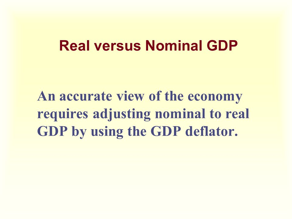 Real versus Nominal GDP An accurate view of the economy requires adjusting nominal to real GDP by using the GDP deflator.