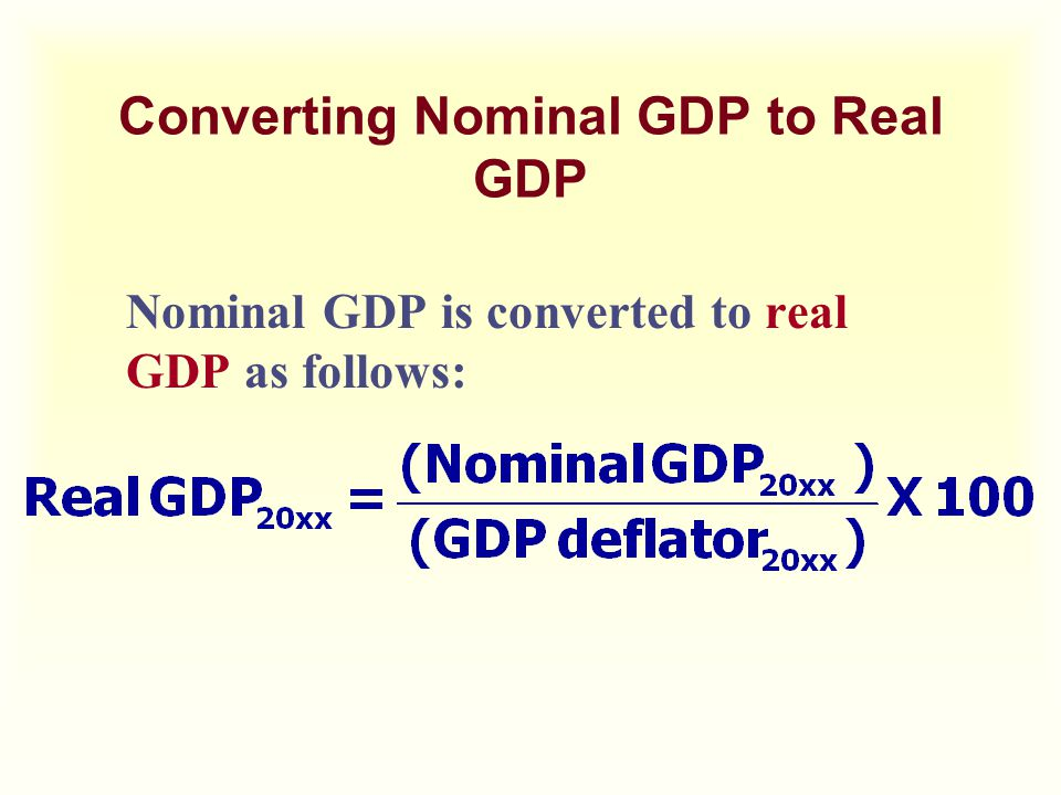 Converting Nominal GDP to Real GDP Nominal GDP is converted to real GDP as follows: