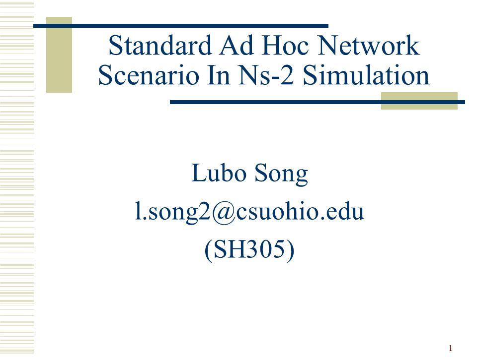 22 NS Tutorials  NS website http://www.isi.edu/nsnam/ns/  NS Manual http://www.isi.edu/nsnam/ns/doc/ns_doc.pdf  Marc Greis's Tutorial http://www.isi.edu/nsnam/ns/tutorial  http://www.cs.virginia.edu/~cs757/slidespdf/cs757-ns2- tutorial-exercise1.pdf  http://nile.wpi.edu/NS/  http://nesl.ee.ucla.edu/courses/ee206a/2002s/guest_presentat ions/GP02_Park_ns2.ppt  http://www.ece.ubc.ca/~elec565/ns2_tutorial.ppt
