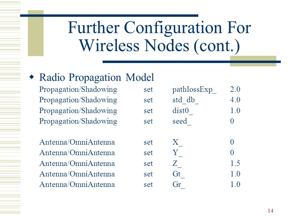 14 Further Configuration For Wireless Nodes (cont.)  Radio Propagation Model Propagation/ShadowingsetpathlossExp_2.0 Propagation/Shadowingsetstd_db_4.0 Propagation/Shadowingsetdist0_1.0 Propagation/Shadowingsetseed_0 Antenna/OmniAntennasetX_0 Antenna/OmniAntennasetY_0 Antenna/OmniAntennasetZ_1.5 Antenna/OmniAntennasetGt_1.0 Antenna/OmniAntennasetGr_1.0