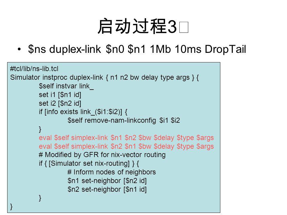 启动过程 3 ☆ $ns duplex-link $n0 $n1 1Mb 10ms DropTail #tcl/lib/ns-lib.tcl Simulator instproc duplex-link { n1 n2 bw delay type args } { $self instvar lin