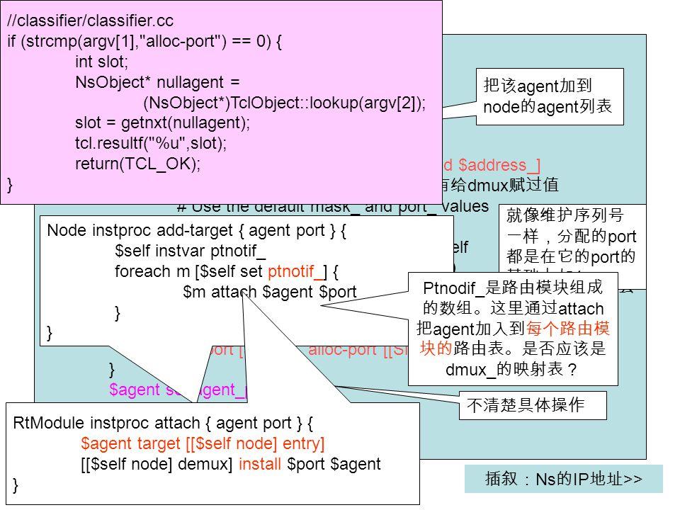 #tcl/lib/ns-node.tcl Node instproc attach { agent { port