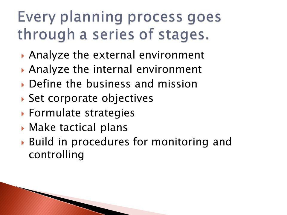 Clarify direction of the business  Ensure efficient use of resources  Provide a way of measuring progress  Support effective decision-making  Co-ordinate activities  Allocate responsibility  Motivate & guide people